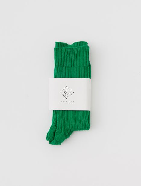 Cotton Rib Ankle Socks - Green