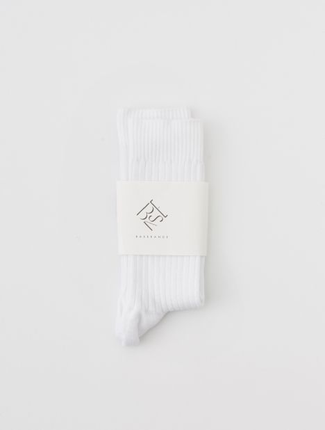 Cotton Rib Ankle Socks - White