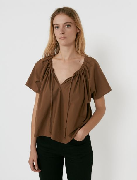 Drawcord Cotton Blouse