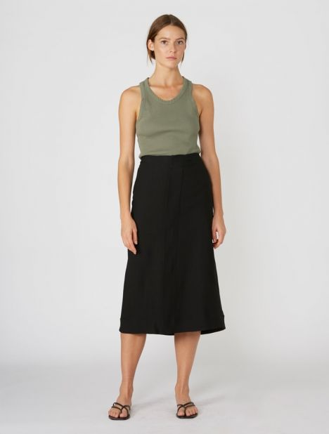 Crepe Tailored Midi Skirt