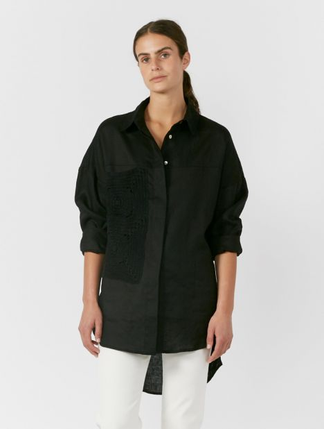 Sar Crochet Double Pocket Shirt - Black