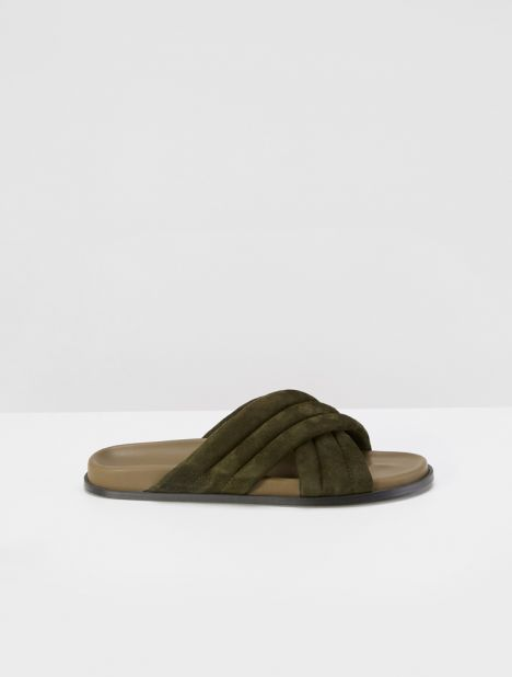 Suede Cross Over Slide - Army