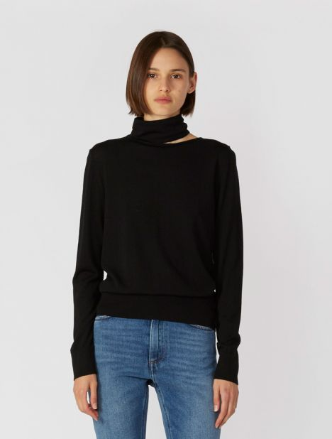 Merino Wool Cutout Neck Knit