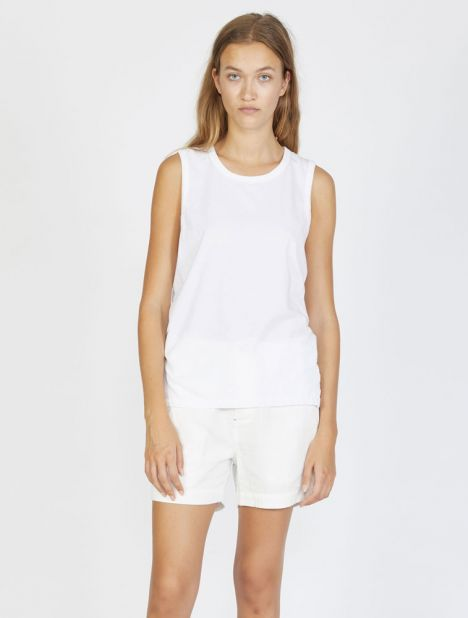 Slim Cut Out Tank - White