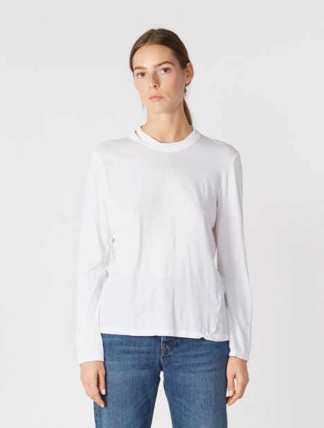 Heritage Cutout Long Sleeve T-Shirt - White