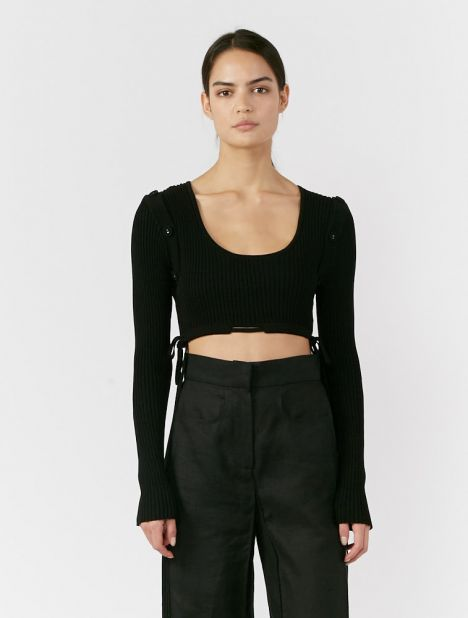 Deconstruct Tie Crop Top