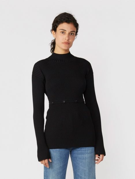 Deconstruct Knit Skivvy - Black