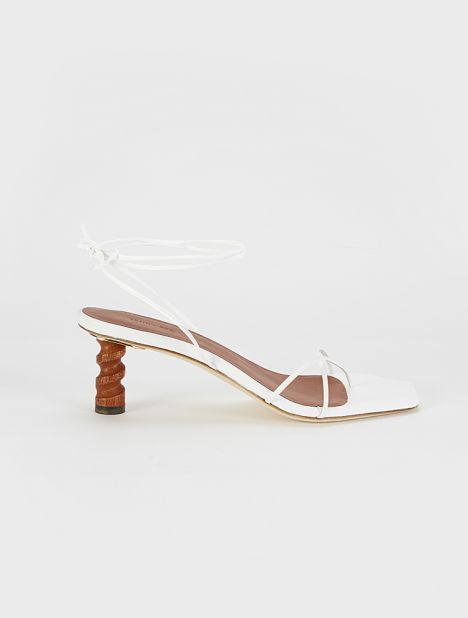 Doris Leather Sandal - White