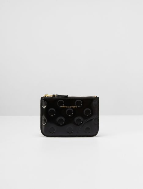 Embossed Dots Small Leather Zip Pouch - Black