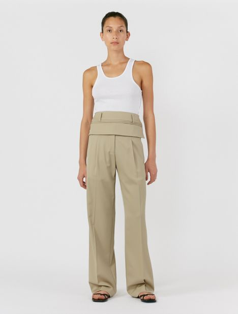 Double Belted Trouser - Stone