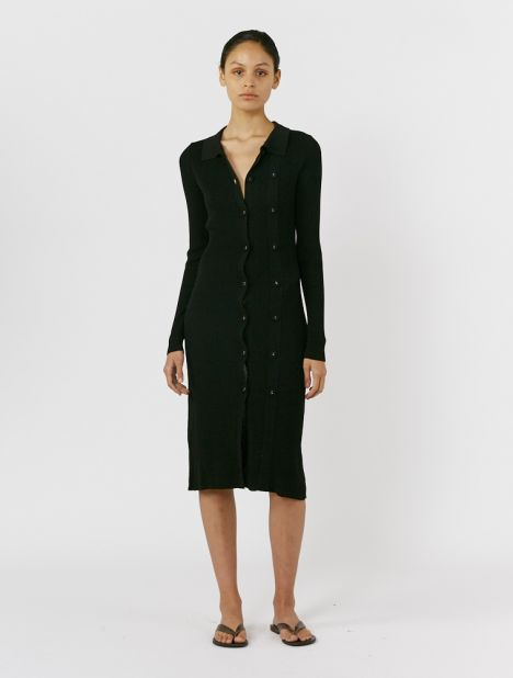 Double Button Knit Dress - Black