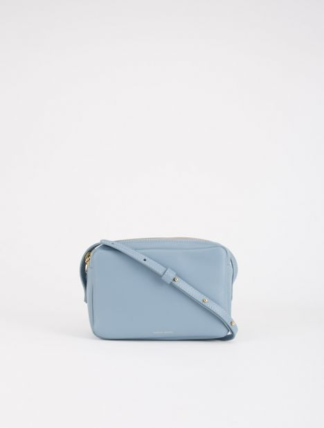 Double Zip Leather Crossbody Bag - Grey Blue