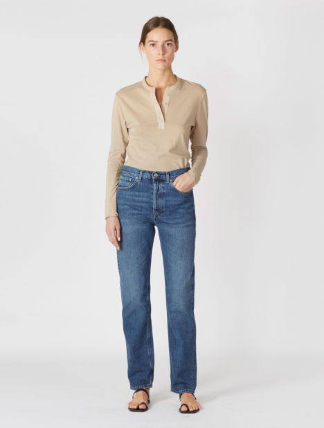 Ease Mid-Rise Loose Jean - Washed Blue