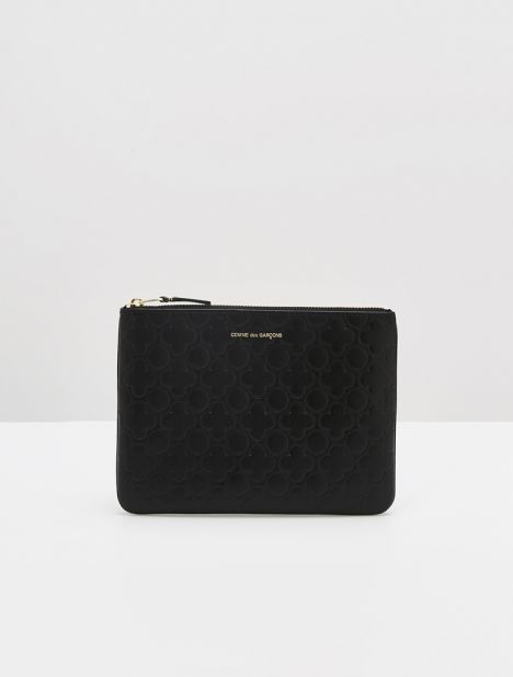 Embossed Clover Large Leather Zip Pouch - Black