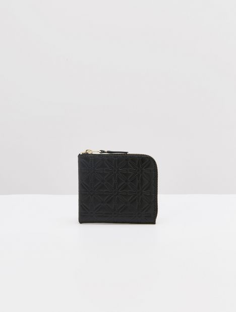 Embossed Star Half-Zip Leather Wallet - Black