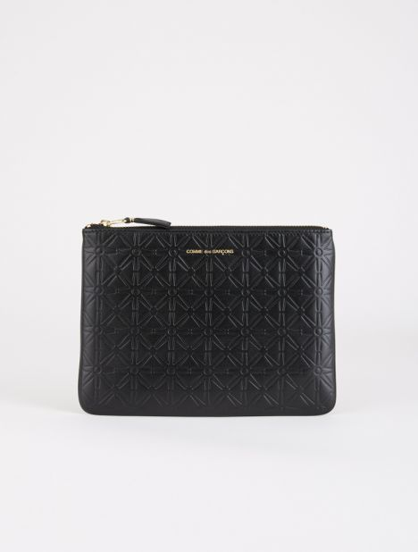 Embossed Leather Zip Pouch - Black