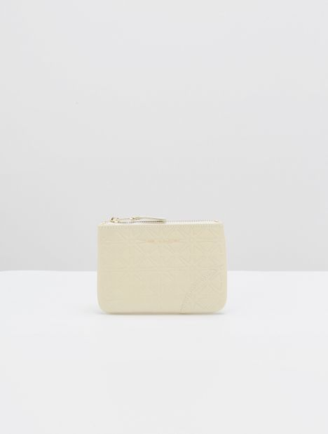 Embossed Star Small Leather Zip Pouch - Off-White
