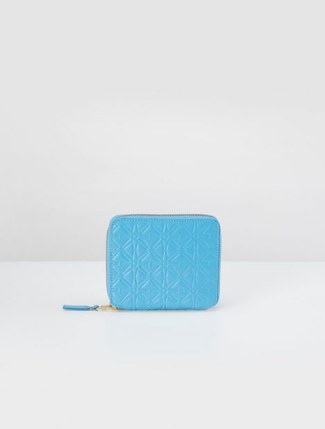 Embossed Leather Square Zip Wallet - Blue