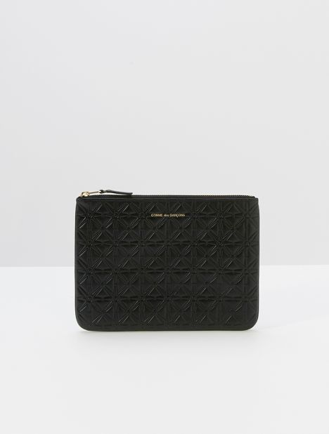 Embossed Star Large Leather Zip Pouch - Black