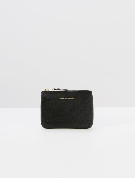 Embossed Star Small Leather Zip Pouch - Black