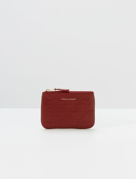 Embossed Star Small Leather Zip Pouch - Red