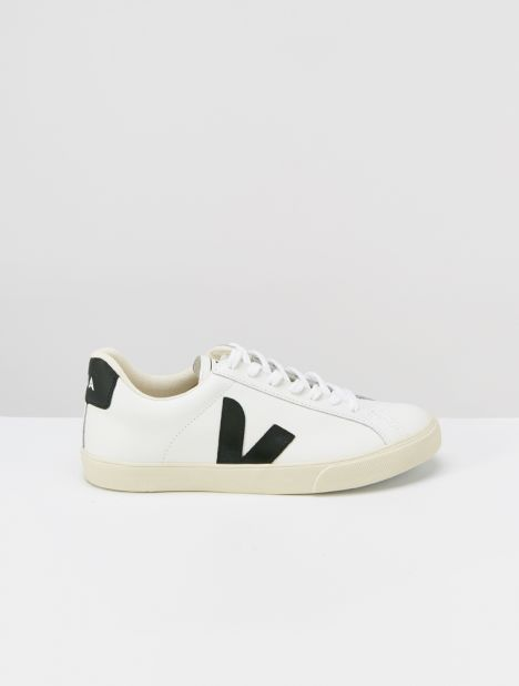 Esplar Logo Leather Sneaker - Extra White/Black