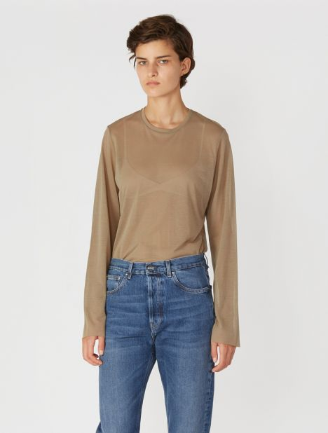 Fine Knit Long Sleeve T-Shirt - Beige