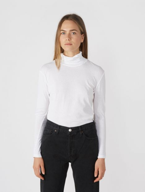 Fitted Funnel Neck Long Sleeve T.Shirt - White