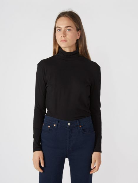 Fitted Funnel Neck Long Sleeve T.Shirt - Black