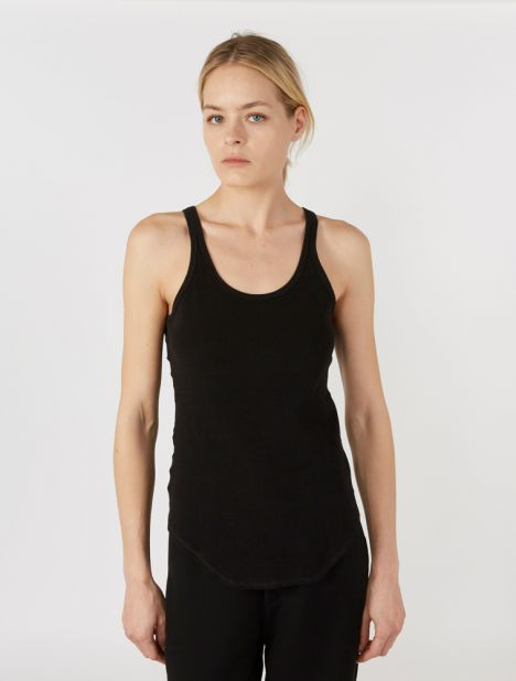 Fitted Scoop Rib Tank - Black