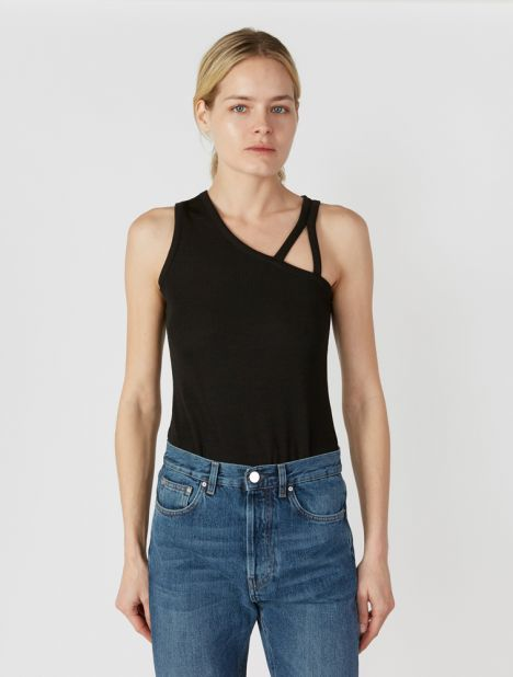 Floating Strap Ribbed Tank