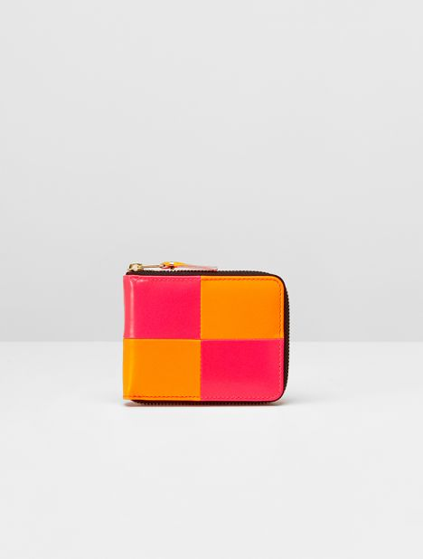 Fluro Small Square Leather Zip Wallet - Orange/Pink