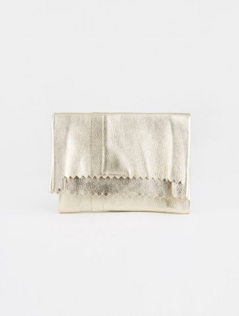 Metallic Leather Folded Clutch