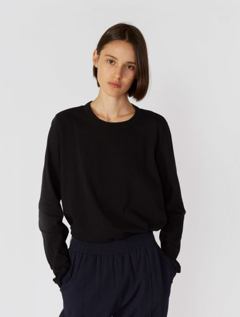 Wide Heritage French Seam Long Sleeve T.Shirt - Black