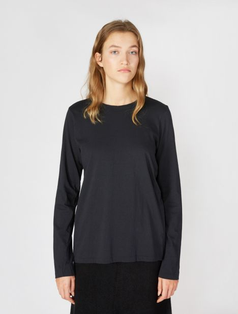 Wide Heritage French Seam Long Sleeve T.Shirt - Dark Navy