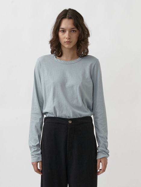 Wide Heritage French Seam Long Sleeve T.Shirt - Blue