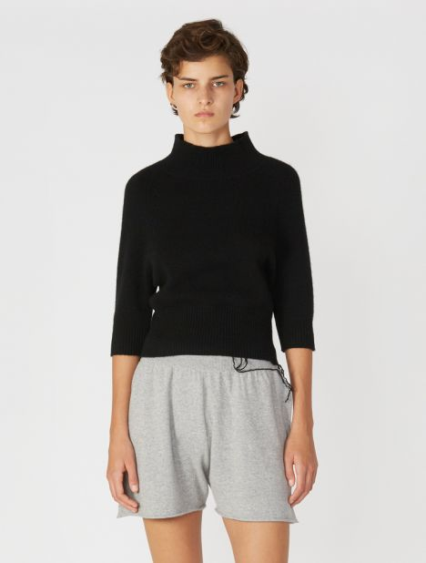 Cropped Funnel Neck Cashmere Knit