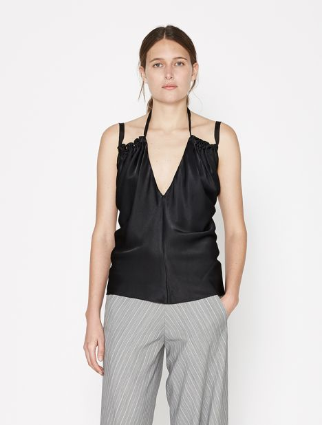 Gathered Shoulder Cami - Black