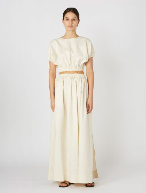 Gathered Linen Skirt - Ivory