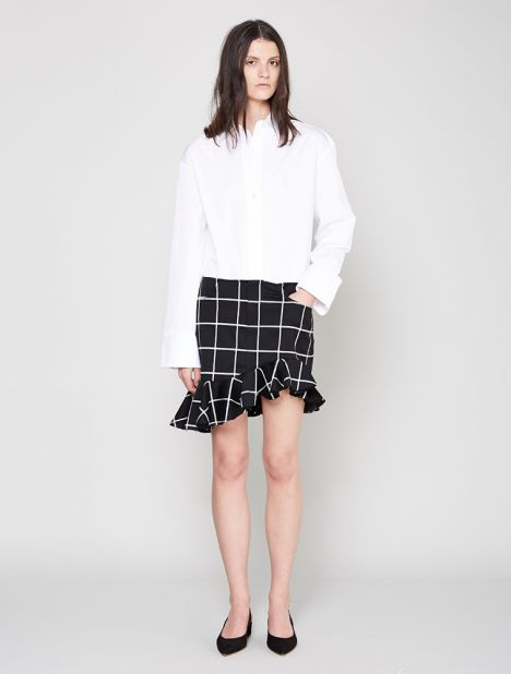 Grid Suiting Ruffle Skirt