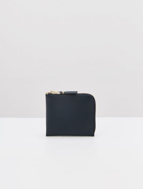 Classic Half-Zip Leather Wallet - Navy