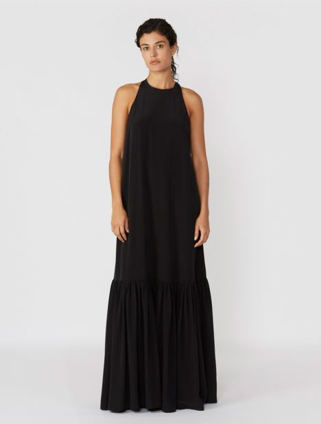 Halterneck Silk Maxi Dress