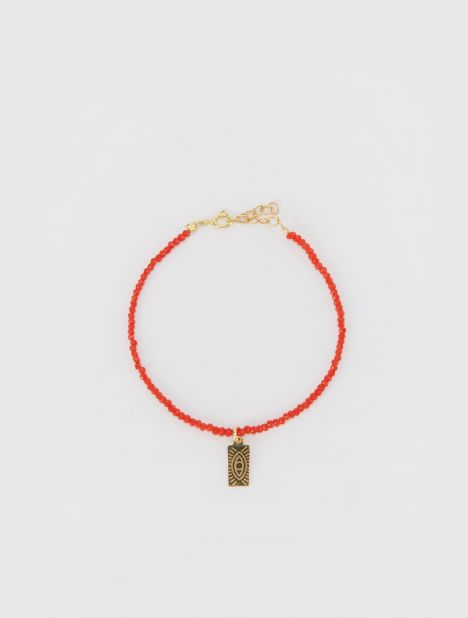 Hermina Tag Beaded Bracelet - Red