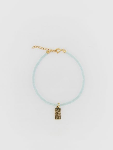 Hermina Tag Beaded Bracelet - Light Turquoise