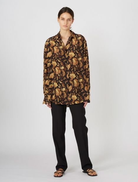 Oversized Silk Shirt - Hibiscus