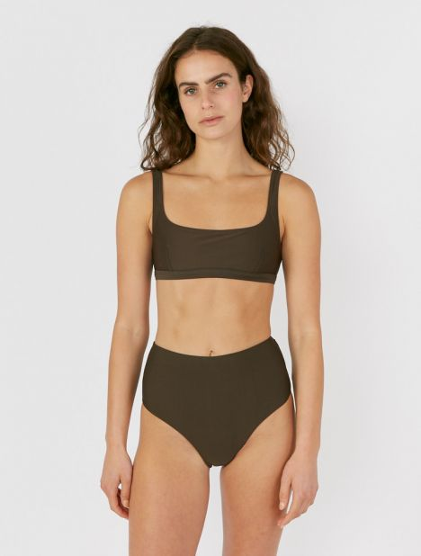 High Waisted Bikini Brief - Thyme