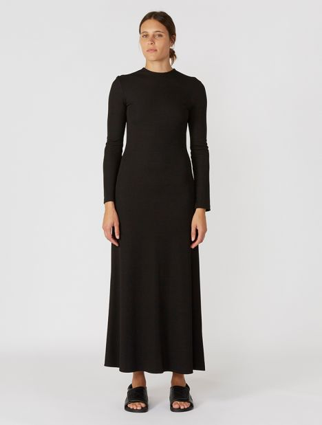 Rib Hollow Long Sleeve Dress