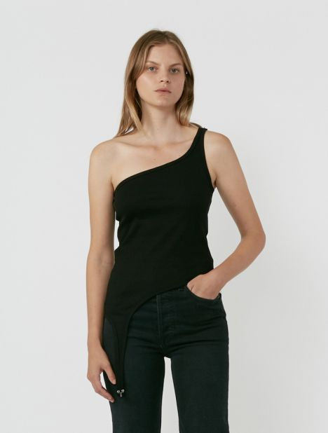 Shoulder Hook Ribbed Tank