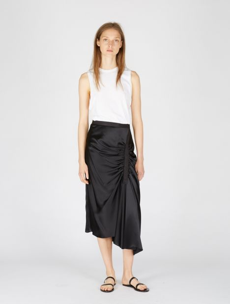 Exclusive | Incline Gathered Silk Skirt