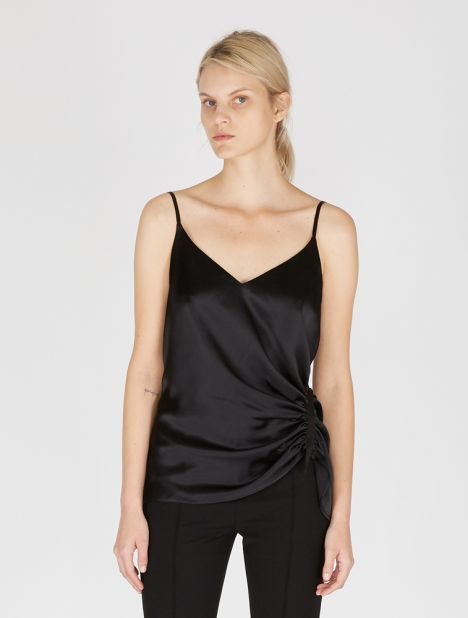 Exclusive | Incline Taped Silk Cami - Black